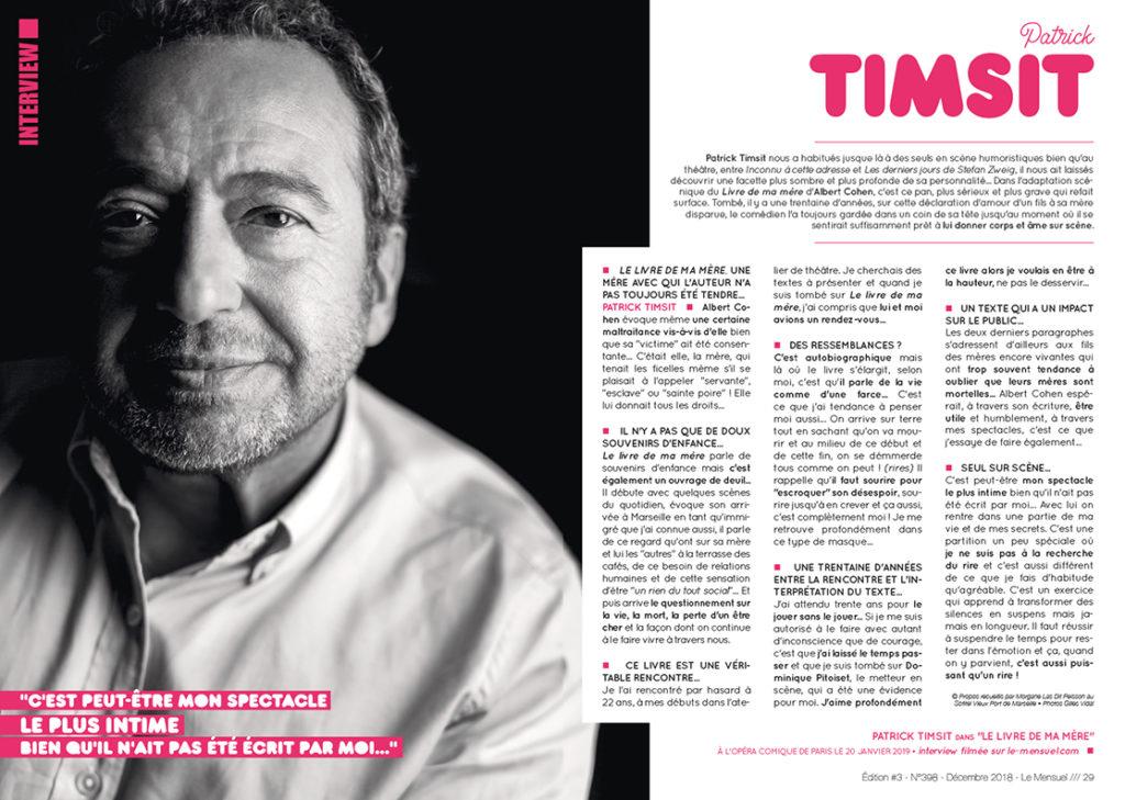 """Timsit Patrick en interview • Spectacle """"Le livre de ma mère"""""""
